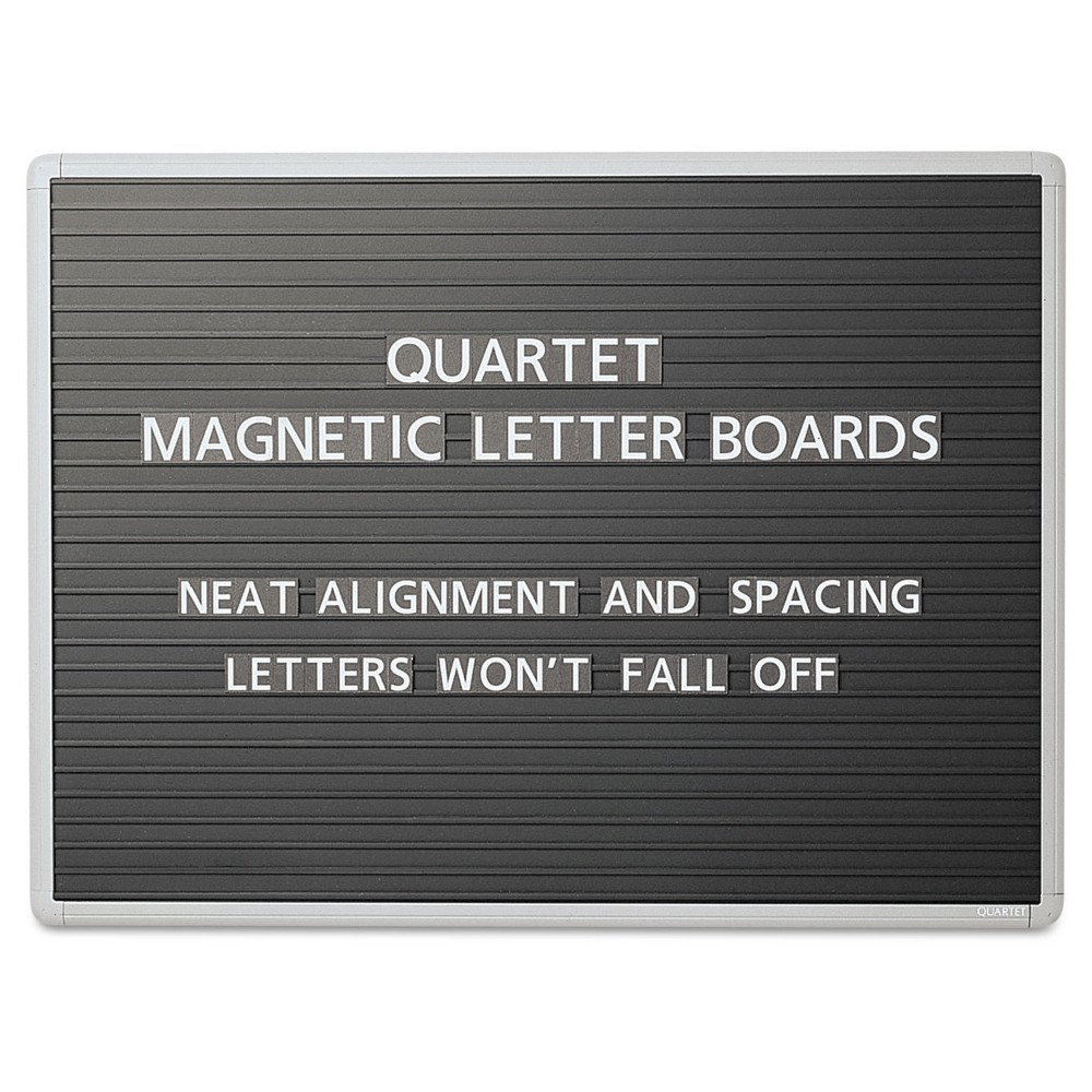 Quartet Magnetic Wall Mount Letter Board, 36 x 24, Black, Gray Aluminum Frame