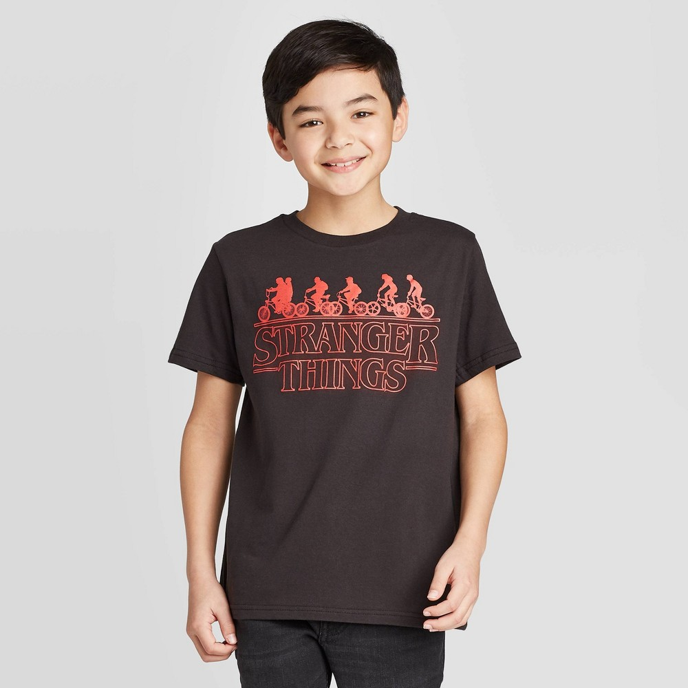 Image of petiteBoys' Short Sleeve Stranger Things Bikers T-Shirt - Black S, Boy's, Size: Small