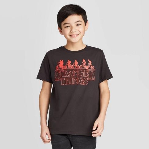 Boys' Short Sleeve Stranger Things Bikers T-Shirt - Black - image 1 of 3