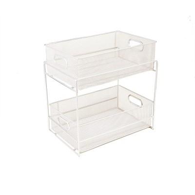 MIND READER Metal Mesh Organizer [2 TIER] Slide Out Basket Drawer For Kitchen, Bathroom, Office Desk (BLACK)