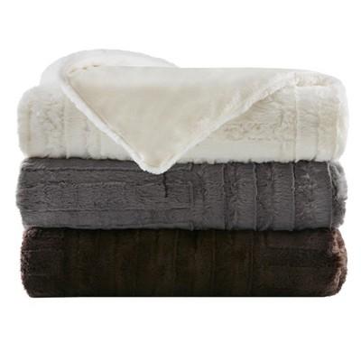 Ivory Polar Solid Faux Fur Throw Blankets (50 x60 )