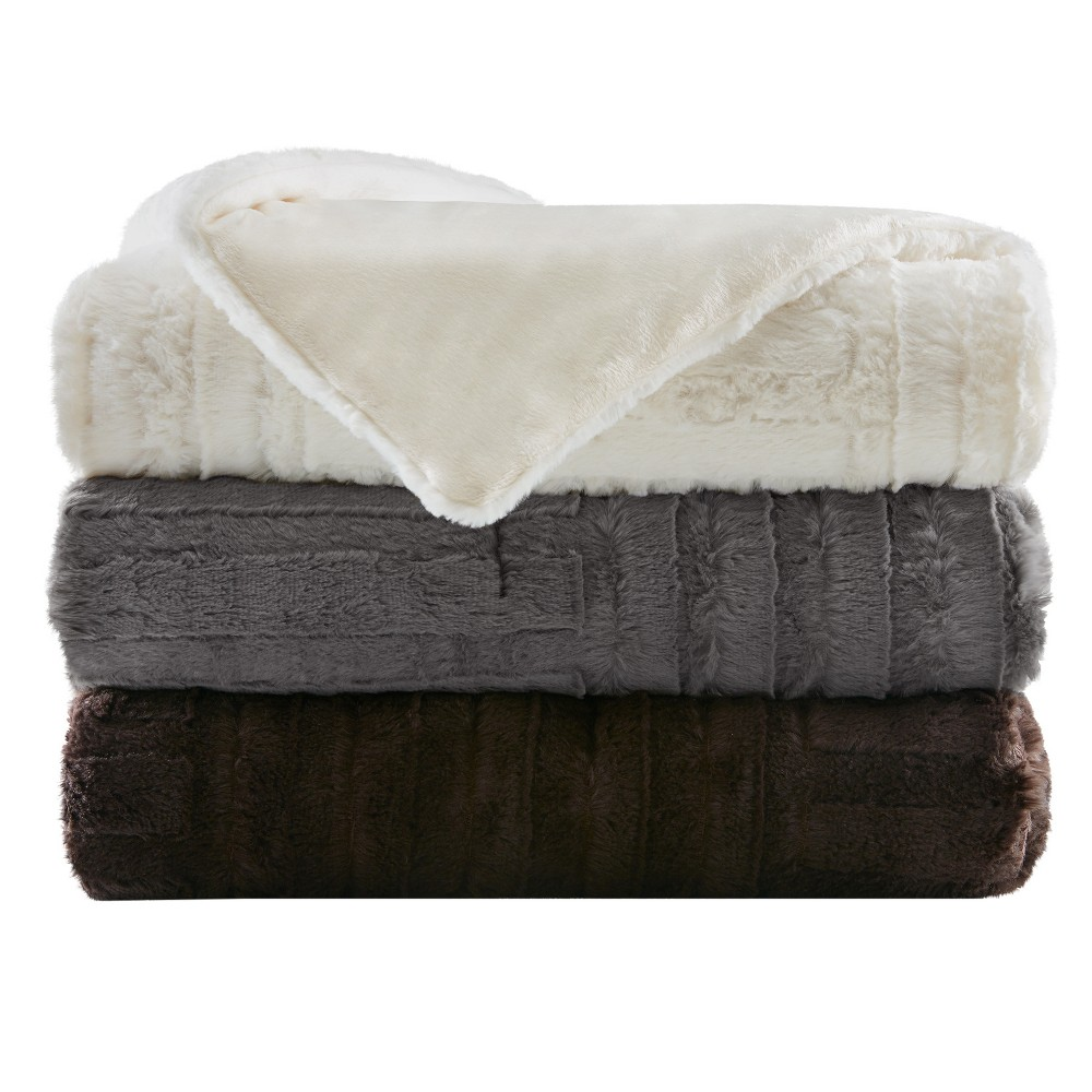 Chocolate (Brown) Polar Solid Faux Fur Throw Blankets (50