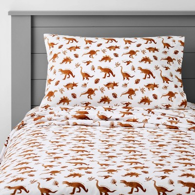 Dinosaur Cotton Sheet Set Watercolor Brown - Pillowfort™
