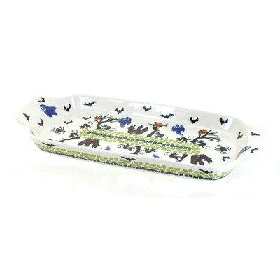 Blue Rose Polish Pottery Monster Mash Bread Tray with Handles