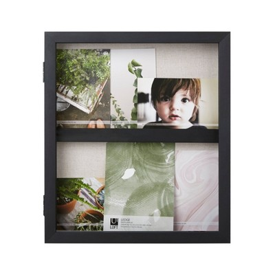 "13"" x 15"" Ledge Portrait Photo Display with Real Linen Backer Black - Loft By Umbra"
