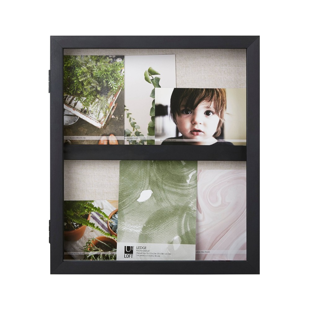 "Image of ""13""""X15"""" Ledge Portrait Photo Display With Real Linen Backer Black - Loft By Umbra"""