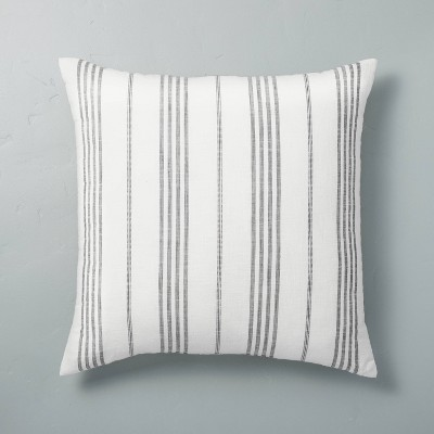 """24"""" x 24"""" Vertical Stripe Oversized Throw Pillow Sour Cream/Gray - Hearth & Hand™ with Magnolia"""