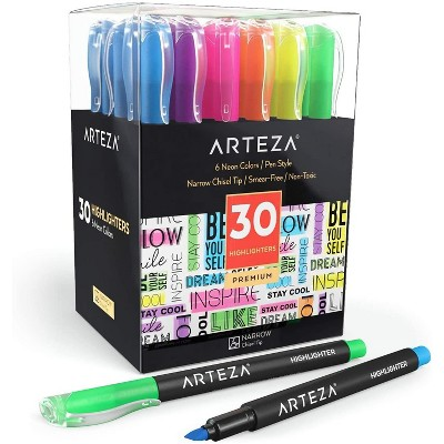 Arteza Highlighters, Narrow Chisel Tips, 6 Assorted Colors - Set of 30