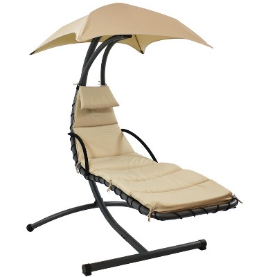Hanging Chaise Lounge Chair with Canopy Umbrella - Beige - Sunnydaze Decor