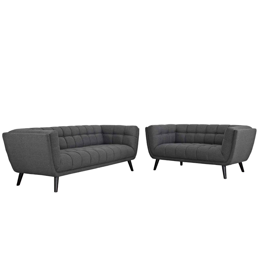 2pc Bestow Upholstered Fabric Sofa and Loveseat Set Gray - Modway