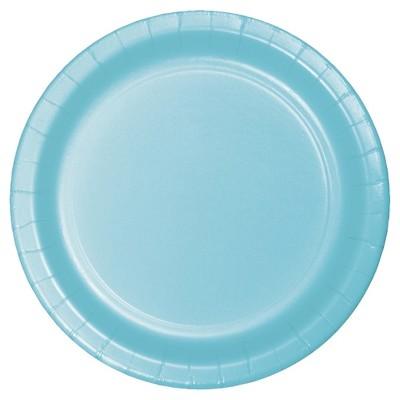 """Pastel Blue 9"""" Paper Plates - 24ct"""