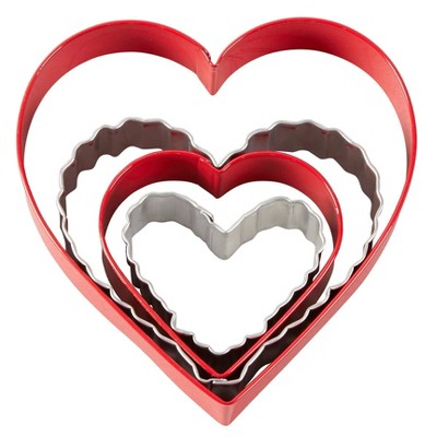 Wilton 4pc Metal Nesting Hearts Cookie Cutter Set Red/White