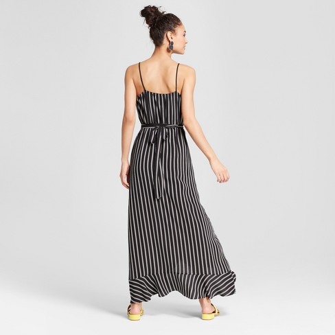 70d03c7f4e4d1f Women s Striped Ruffle Wrap Flounce Bottom Maxi Dress - Necessary Objects  Black White   Target