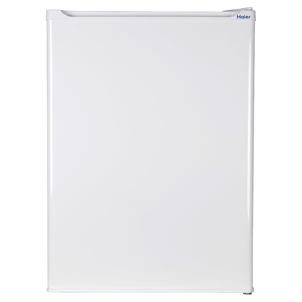 Haier 2.7 Cu. Ft. Refrigerator/Freezer, White, HC27SF22RW Keep your favorite food and drinks cold in this Haier 2.7 cubic foot white compact refrigerator. Half-Width Freezer Compartment provides spacious storage for keeping items extra cold. Store up to 3, 2-liter and other tall bottles easily in the convenient door compartment. Full-Width Glass Shelves allow flexible storage solutions and easy clean up. Adjustable Thermostat ensures accurate storage temperatures at the turn of a dial. More easy-to-use features include: 2 Full-width Slide-out Glass Shelves, 2 Full-width Door Storage Shelves, Space Saving Flat back Design and Manual Defrost.