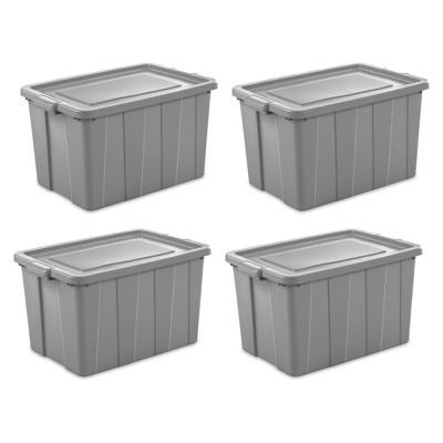 Sterilite Tuff1 30 Gallon Plastic Storage Tote Container Bin w/ Lid (4 Pack)