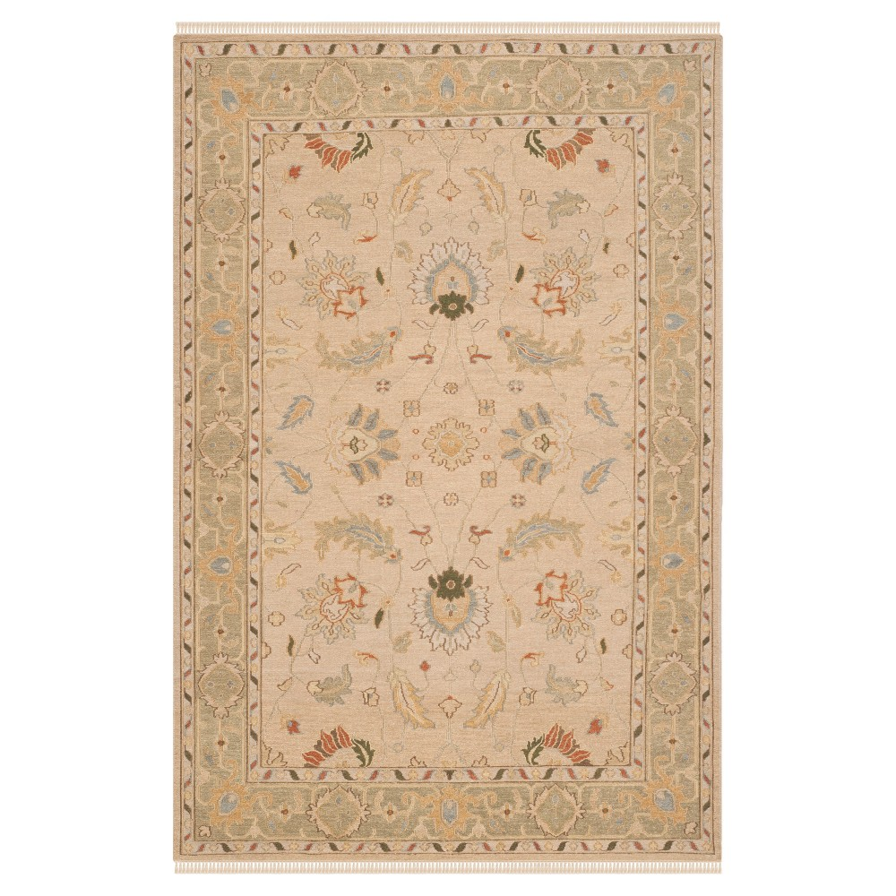 Taupe/Green Botanical Flatweave Woven Area Rug - (4'X6') - Safavieh, Brown