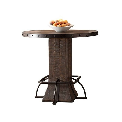 Jennings Round Counter Height Dining Table Wood/Metal Distressed Walnut Finished Wood/Brown Metal - Hillsdale Furniture