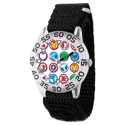 Boys' Marvel's Avengers Marvel Group Logo Clear Plastic Time Teacher Watch - Black