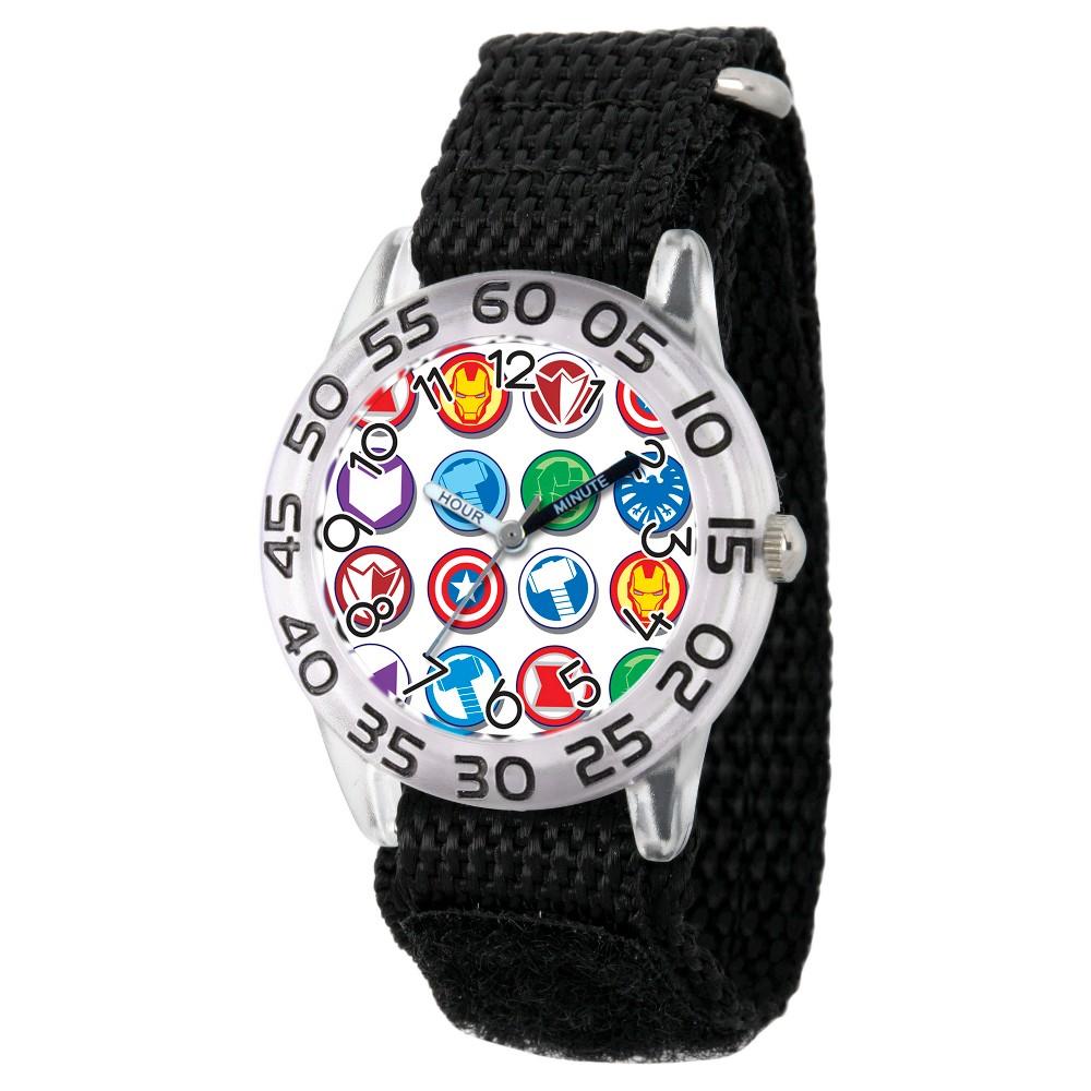 Image of Boys' Marvel's Avengers Marvel Group Logo Clear Plastic Time Teacher Watch - Black, Boy's, Size: Small