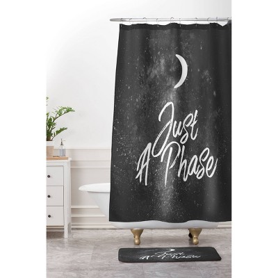 Chelsea Victoria Just A Phase Lunar Shower Curtain Black/White - Deny Designs