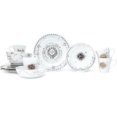 Robe Factory LLC Harry Potter Marauders Map 16-Piece Ceramic Dinnerware Set | Plates, Bowls, Mugs