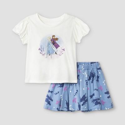 Toddler Girls' Disney Frozen Short Sleeve Top and Bottom Set - White