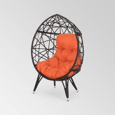 Palazzo Wicker Teardrop Chair Brown/Orange - Christopher Knight Home