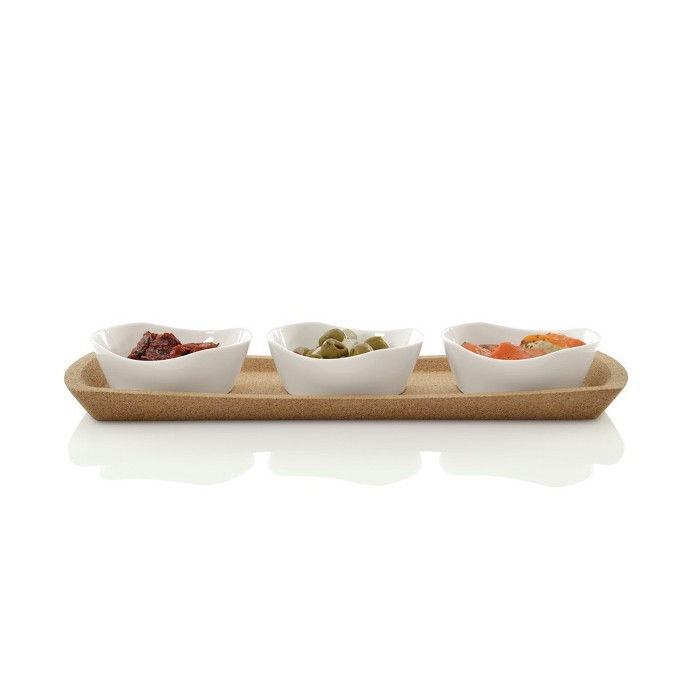 BergHOFF Eclipse 4 Pc Porcelain Snack Bowl With Cork Tray : Target