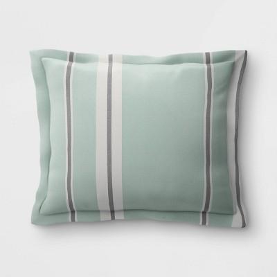Woven Navy Stripe Outdoor Deep Seat Pillow Back Cushion DuraSeason Fabric™ Aqua - Threshold™