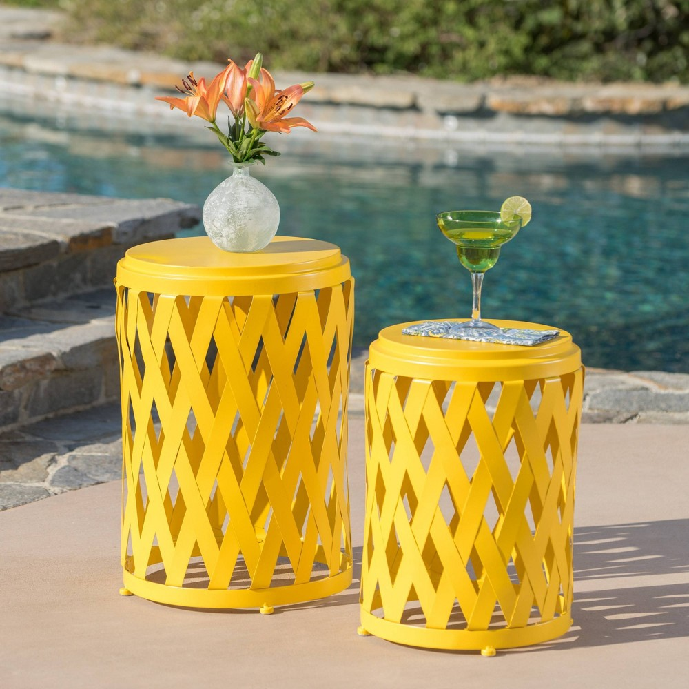 Image of 2pc Selen Outdoor Patio Iron Side Table Set - Yellow - Christopher Knight Home
