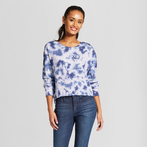 Women's Good Vibes Only Pullover Cloud Wash Graphic Sweatshirt - Grayson Threads (Juniors') Blue - image 1 of 2