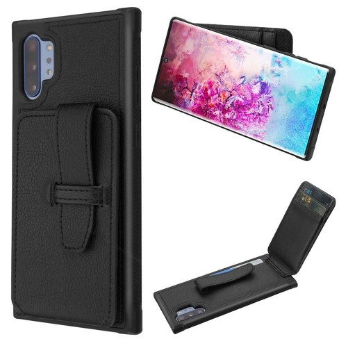 Insten Cartera Wallet Faux Leather Dual Layer w/card holder For Samsung Galaxy Note 10 Plus - Black - image 1 of 4