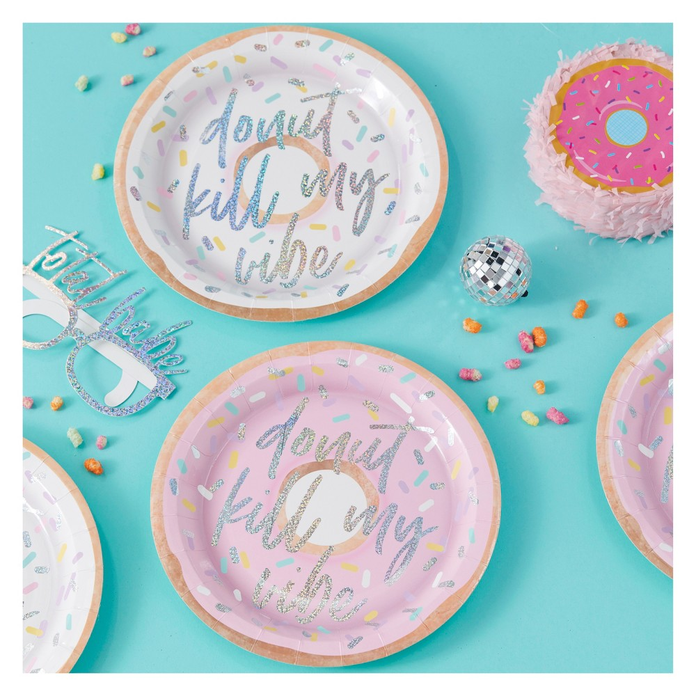 "Image of ""8ct """"Donut Kill My Vibe"""" Iridescent Paper Plates"""