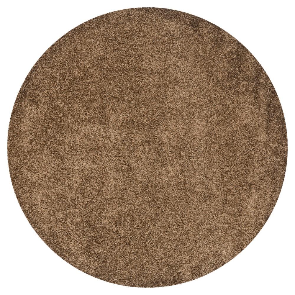 Light Brown Solid Shag/Flokati Tufted Round Area Rug - (7' Round) - Safavieh