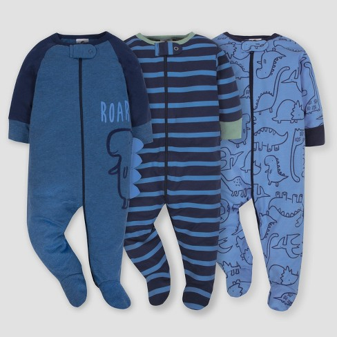 Gerber® Baby Boys' 3pk Sleep 'N Play Dino - Blue - image 1 of 4