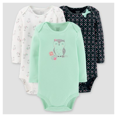 Baby Girls' 3pk Long Sleeve Owl Bodysuit - Just One You™ Made by Carter's® Mint NB