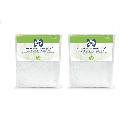 Sealy Cozy Dreams Waterproof Fitted Crib Toddler Mattress Pad - 2pk