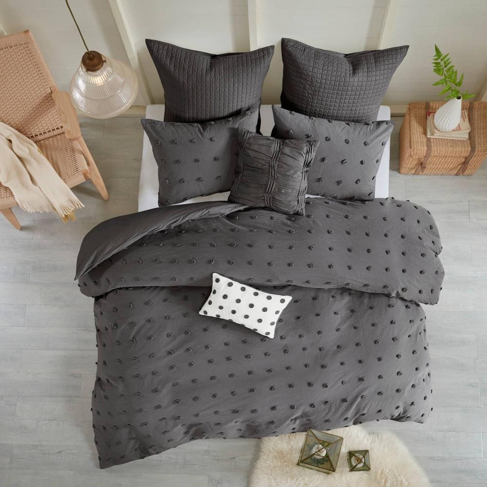 5pc Twin Twin Extra Long Kay Cotton Jacquard Duvet Cover Set Charcoal