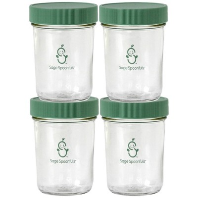 Sage Spoonfuls Glass Snack Jars 4pk Baby Food Storage Container - Clear - 8oz