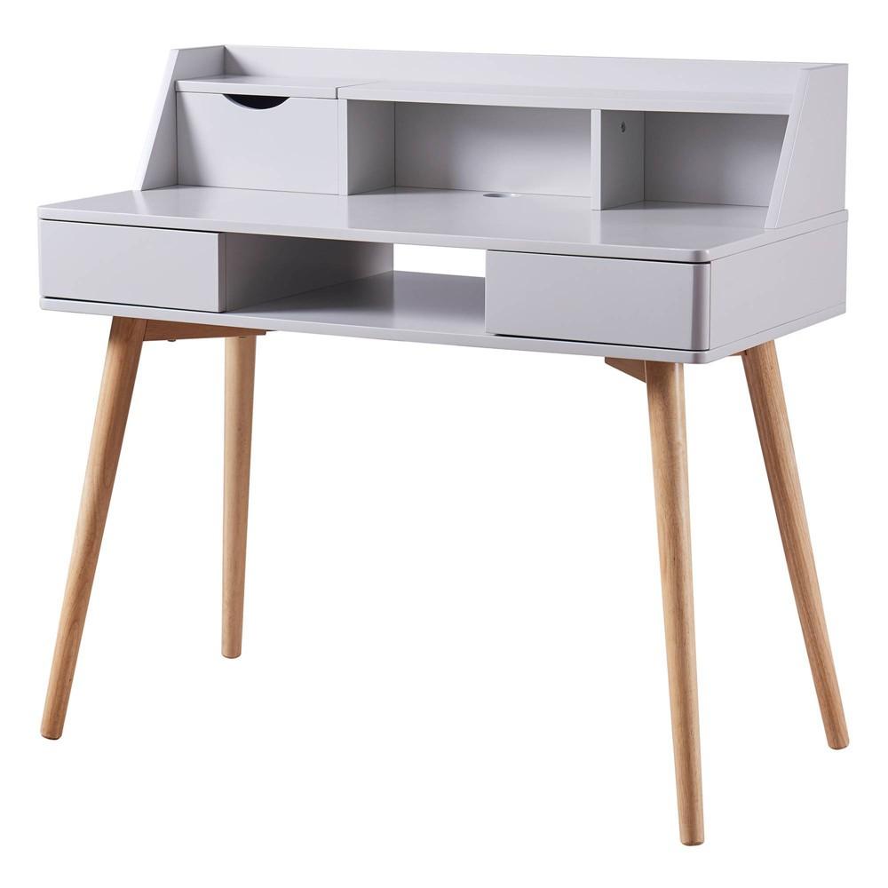 Image of Creativo Stylish Desk with Solid Wood Leg Gray - Versanora