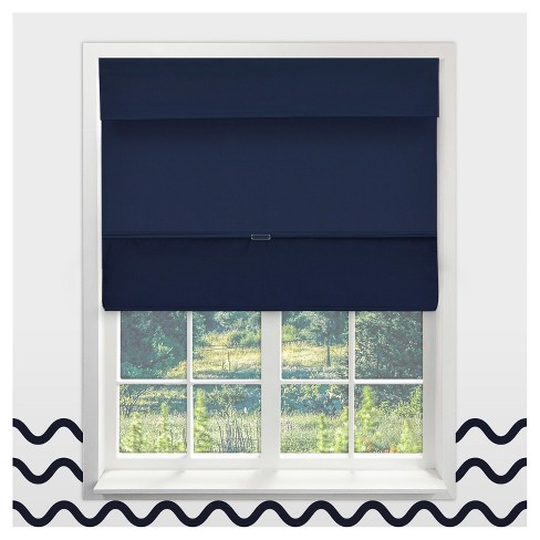 Navy Cordless Magnetic Roman Shades Chicology