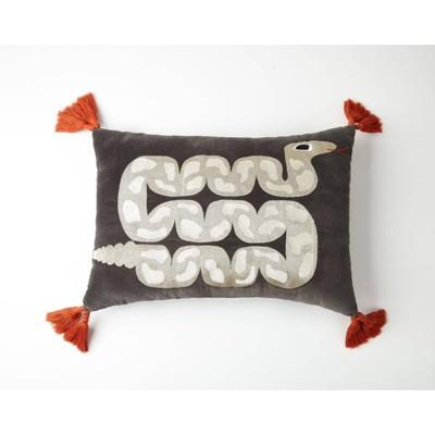 Oblong Snake Decorative Throw Pillow Gray - Justina Blakeney