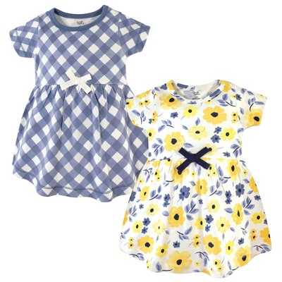 Touched by Nature Baby and Toddler Girl Organic Cotton Short-Sleeve Dresses 2pk, Yellow Garden