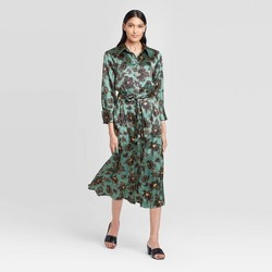 Women's Long Sleeve Collared Neck Silky Shirt Midi Dress - Who What Wear™