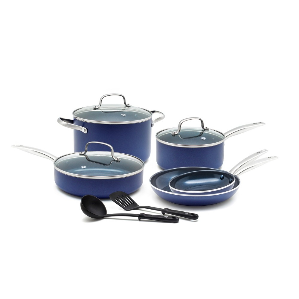 Image of Blue Diamond 10pc Cookware Set Blue