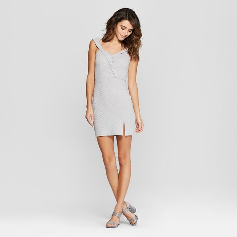 374e907b1d14 Women s Sleeveless Off the Shoulder Glitter Bodycon Dress - Lots of Love by  Speechless (Juniors ) Gray