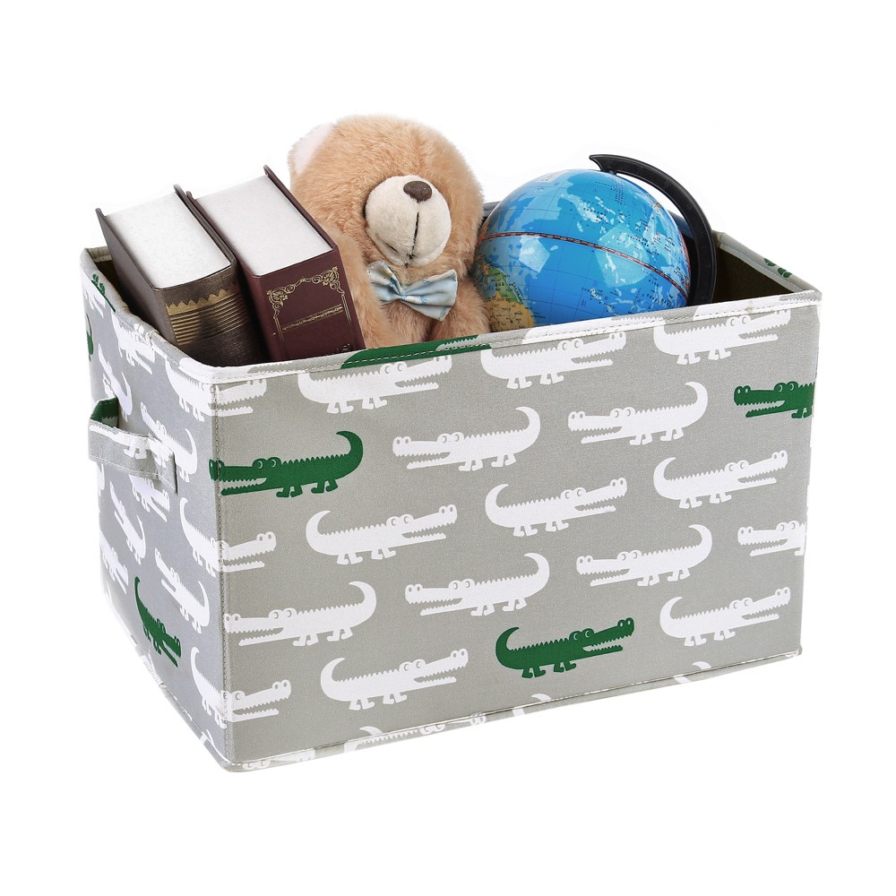 """Image of """"3pc 15""""""""x13"""""""" Alligator Toy Storage Container Set Gray - Lush Décor"""""""
