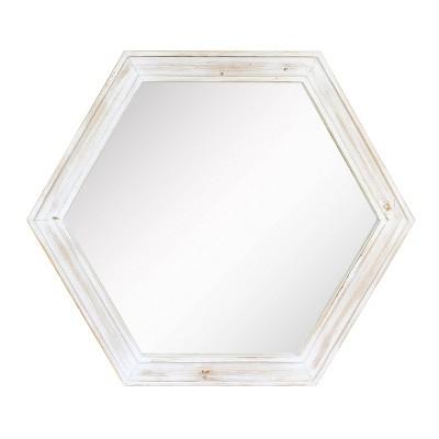 Wooden Hexagon Decorative Wall Mirror White - Stonebriar Collection