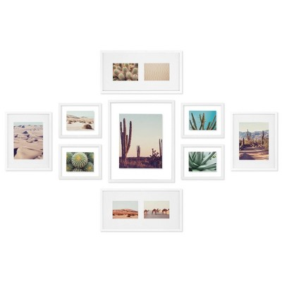 9pc Gallery Wall Frame Set with Decorative Art Prints Matted and Float Frames - Gallery Solutions