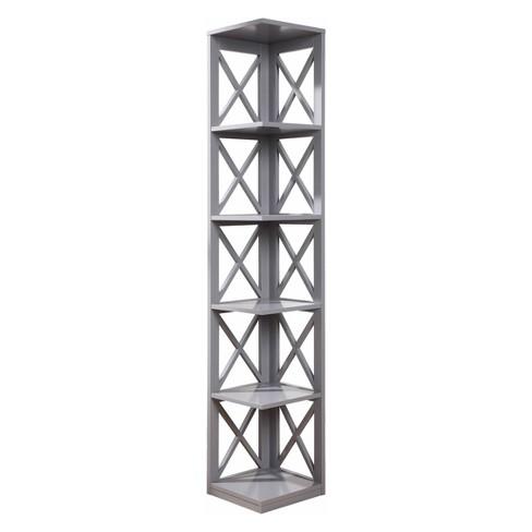 6375 Oxford 5 Tier Corner Bookcase Gray
